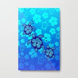 3 Blue Honu Turtles Metal Print