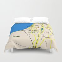 israel Duvet Covers featuring Israel Map design by Efratul