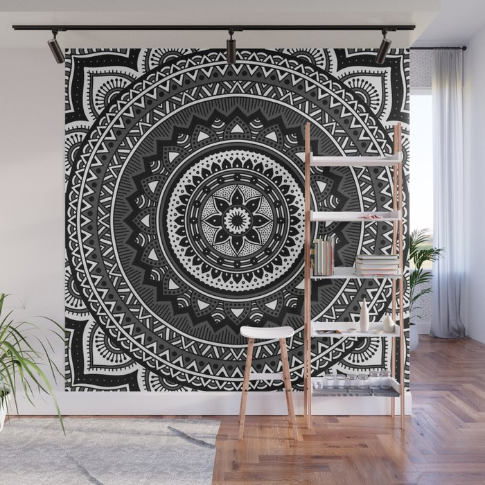 Black And White Mandala Wall Mural