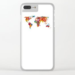 Map of The World 2 -Colorful Abstract Art Clear iPhone Case