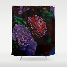 Neon Flowers in the Dark 1 Shower Curtain