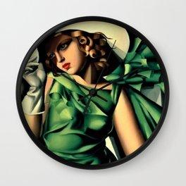 Girl in a Green Dress Art Deco Haute Couture portrait painting Tamara de Lempicka Art Print Wall Clock