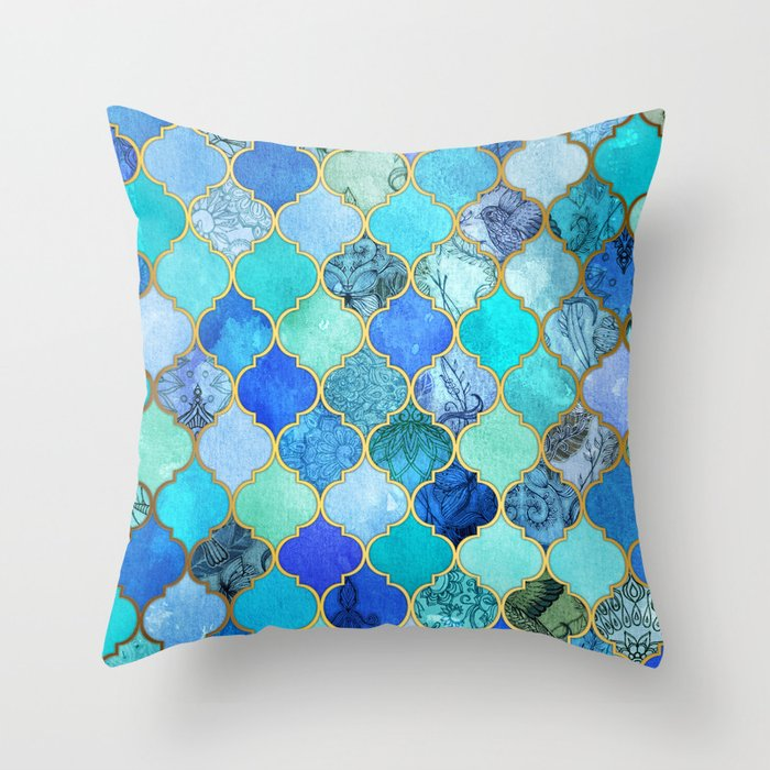 Blue And Aqua Throw Pillows : Cobalt Blue, Aqua & Gold Decorative Moroccan Tile Pattern Throw Pillow by micklyn Society6
