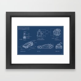 DMC DeLorean Blueprint Framed Art Print