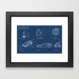 DMC DeLorean Blueprint Framed Art Print