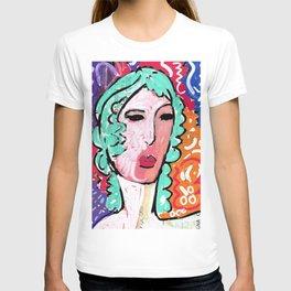 Italian Train Ticket Recycled Art Pop Art Portrait T-shirt