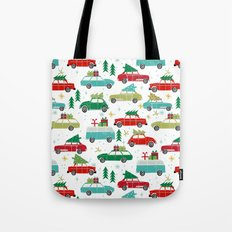 Christmas holiday vintage cars classic festive christmas tree snowflakes winter season Tote Bag