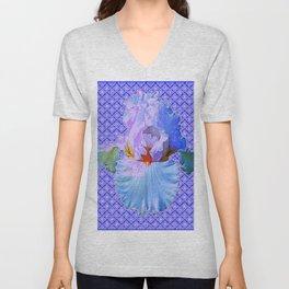 BLUISH-WHITE PASTEL IRIS FLOWERS OPTICAL ART PATTERNS Unisex V-Neck