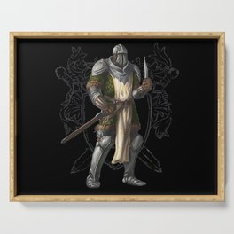 Green Knight with Knife Character Design Serving Tray