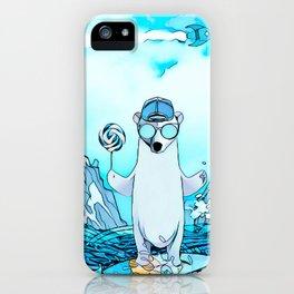 Polar bear on the surf board iPhone Case