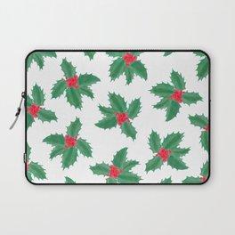 Christmas Green Red Watercolor Holly Berries Leaves Laptop Sleeve