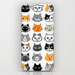Cute Cats | Assorted Kitty Cat Faces | Fun Feline Drawings iPhone Skin