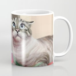 Cat Surprised Funny Animals with Feather Siamese Lynx-Point Coffee Mug