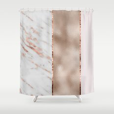 Rose metallic striping - marble and blush Shower Curtain