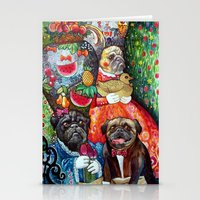 pugs Stationery Cards featuring PUGS by oxana zaika