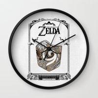 the legend of zelda Wall Clocks featuring Zelda legend - Kokiri shield by Art & Be