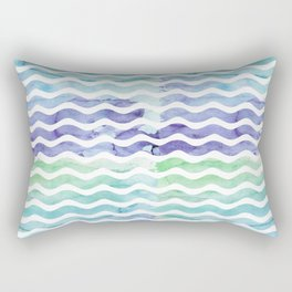 Modern teal blue watercolor hand painted waves Rectangular Pillow