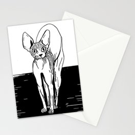 Black and White Sphynx Cat Line Drawing - Sphynx Lovers Gift - Naked Cat - Wrinkly Kitty Stationery Cards