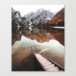 braies lake in Trentino Canvas Print