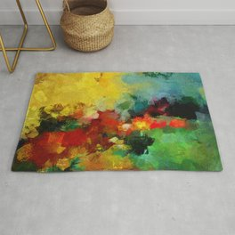 Colorful Landscape Abstract Art Print Rug