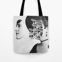 inner demons Tote Bags featuring Inner Demons by Tyler Spangler