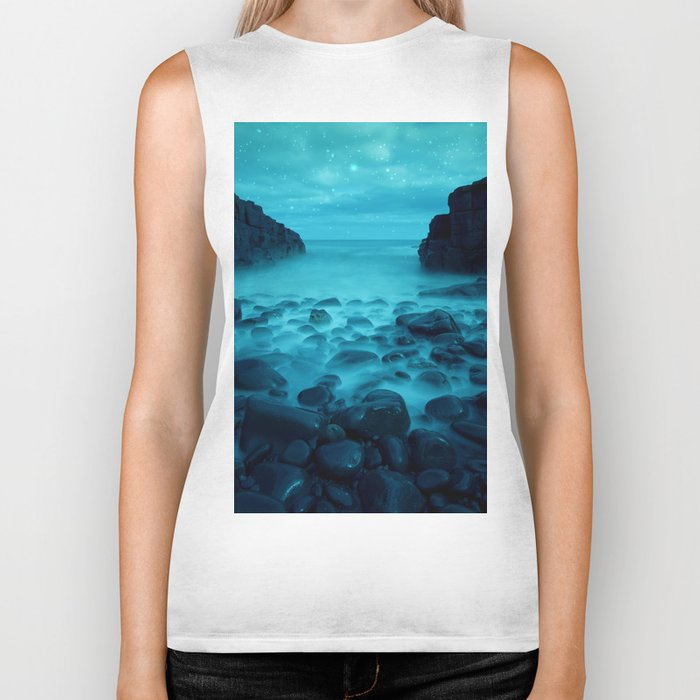 Blue Rocks Ocean and Stars Biker Tank