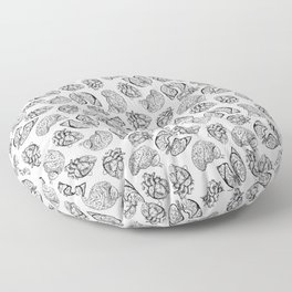 Lung Heart Brain — Black on White Floor Pillow