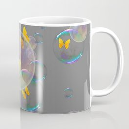#2 YELLOW BUTTERFLIES  & SOAP BUBBLES GREY COLOR Coffee Mug