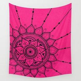 Black and Pink Mandala Wall Tapestry