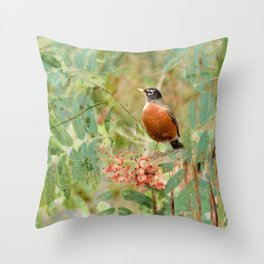 Robin's Wood Throw Pillow