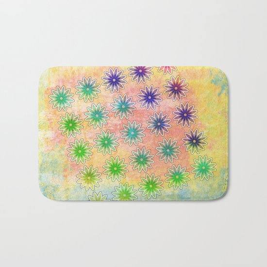 Abstract flower pattern on textured pastel background Bath Mat