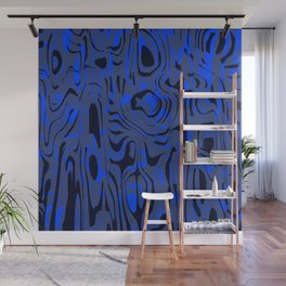 Messy spots and scribbles in blue colors with dark shadow. Wall Mural