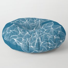 Flowers Blue Floor Pillow