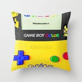game boy color yellow Throw Pillow
