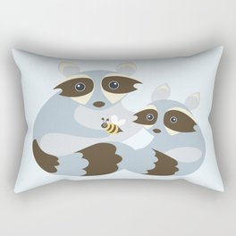 Dad and Baby Raccoon with Bumblebee Rectangular Pillow