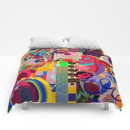 colorful collage Artist Intervention  Comforters
