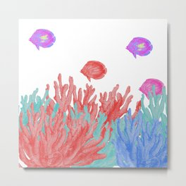 Modern nautical coral teal floral reef colorful fish Metal Print