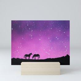 Horses Silhouette Mini Art Print
