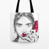 cara Tote Bags featuring CARA  by Roxanne Jade Dentry