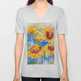 Sunflowers x 5 watercolor by CheyAnne Sexton Unisex V-Neck