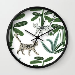 Cats and tropical plants in the jungle Wall Clock