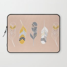 Multi Colored Feathers in Peach Laptop Sleeve