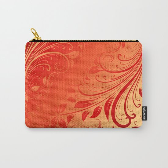 Orange red swirls leaves  Carry-All Pouch