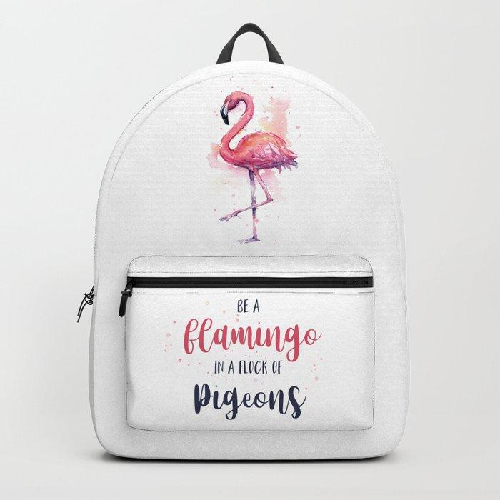 Pink Flamingo Watercolor Tropical Bird Backpack