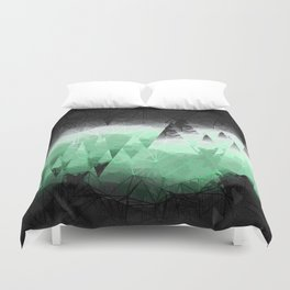 Modern Abstract Green Mountain Design Duvet Cover
