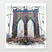 brooklyn bridge Canvas Prints featuring brooklyn bridge by Vector Art