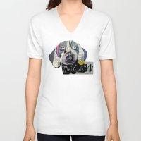 dachshund V-neck T-shirts featuring dachshund  by bri.buckley