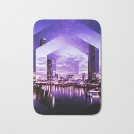 Gorgeous Purple Geometric Brisbane City Riverscape Bath Mat