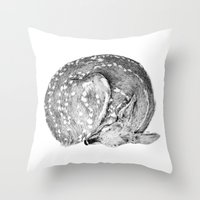 bambi Throw Pillows featuring Bambi by Cheyenne illustration