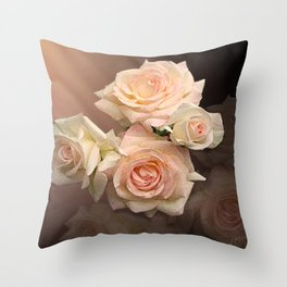 The Roses Blush at Dawn Throw Pillow